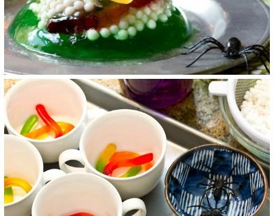 Halloween Jello Worm And Spider Nests Recipe — Dishmaps