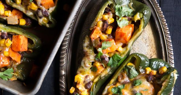 Stuffed Poblano Peppers with Black Bean, Corn & Sweet Potato | Recipe ...