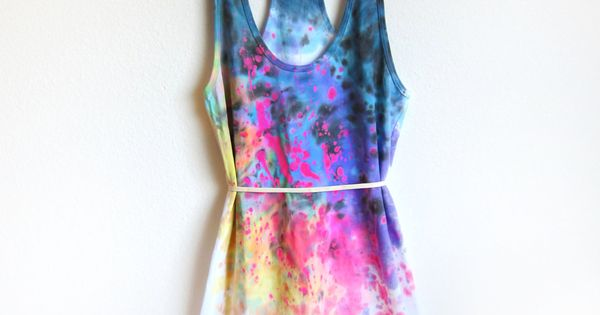 Splash Dyed Hand PAINTED Scoop Neck Racerback Tunic Tee Dress