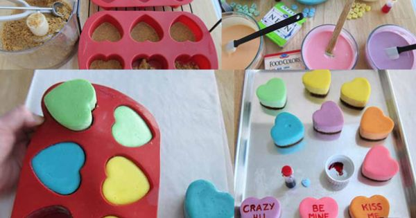 Conversation hearts cheesecakes - such a cute idea for Valentine's Day!