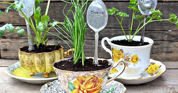 DIY Herb garden markers. Tea cups are cute idea too!!
