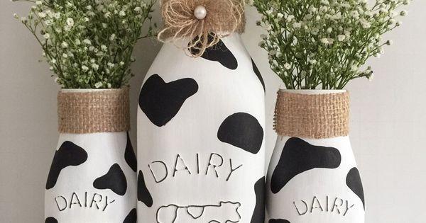 Cow milk bottles kitchen decor farm theme party milk bottles farms and bottle - Kitchen cow theme ...