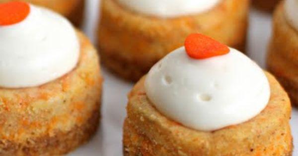 Mini Carrot Cake Cheesecakes (graham cracker crumbs, cream cheese, grated carrot, lemon
