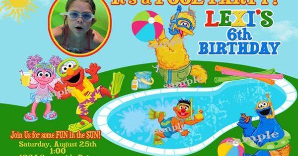 sesame street pool party birthday invitations printable