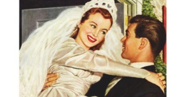 Vintage Braut und Bräutigam; Glückliche Jungvermäh Ankündigung von ...