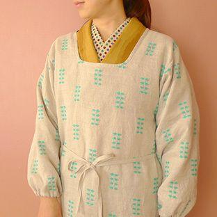 割烹着を手作り 色のあるくらし 手作りエプロン デザイン 服の型紙 着物 作り方
