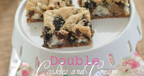 Double Cookies and Cream Kiss Cookie Bars | Cream, Bar and ...