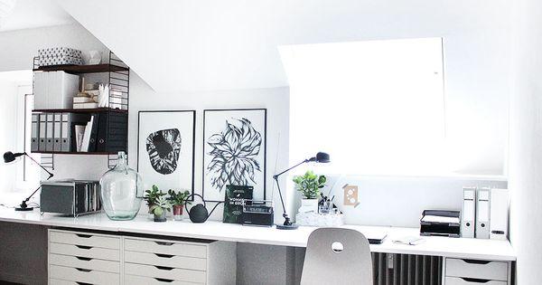 mein arbeitszimmer nun auch gef hlt endlich fertig ikea alex string regal und schreibtische. Black Bedroom Furniture Sets. Home Design Ideas