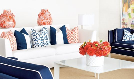 Decorating With Complementary Colors Coral Navy Living