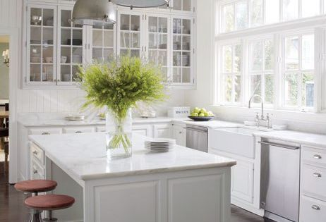 victoria hagen kitchen bank of glass cabinets, farmhouse sink