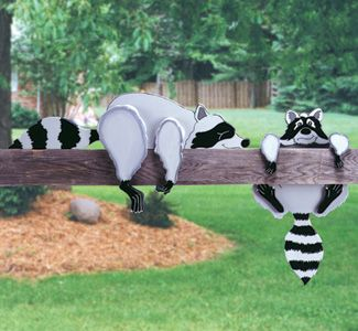 Raccoon Rail Pets Woodcraft Pattern Add A Touch Of Whimsy To Your Fences Or Handrails With These Adora Wood Yard Art Wood Craft Patterns Intarsia Wood Patterns