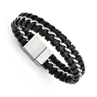 Men S Braided Black Leather Steel Magnetic Clasp Bracelet Stainless Steel Bracelet Men Bracelets For Men Stainless Steel Bracelet
