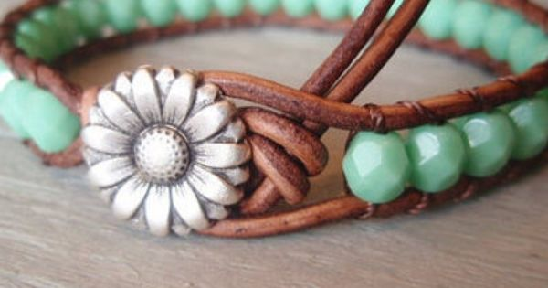 beaded leather bracelet.