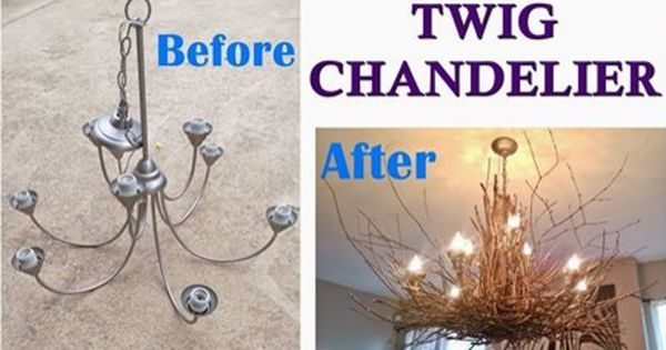 Diy Twig Chandelier From Sticks And Branches Twig Chandelier Rustic Chandelier Chandelier