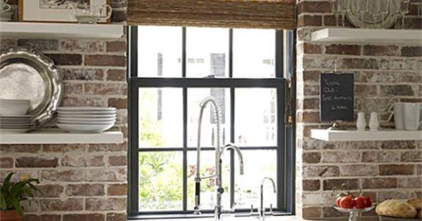briques tag res fen tre l 39 am ricaine vier de boucher cuisines pinterest viers. Black Bedroom Furniture Sets. Home Design Ideas
