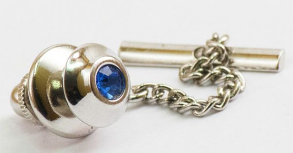 Vintage Tie Pin  Blue Gem on Modern Silver Toned by CuffsandClips, $12.60