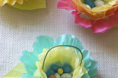 LOVE THIS...WHAT A CUTE IDEA!!! Coffee filter Easter baskets.