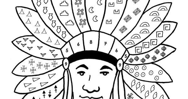 Les indiens d 39 am rique coloriage selon un codage 2 cole maternelle gellow projects to try - Coloriage bison d amerique ...
