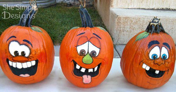 Pumpkin Faces She Simply Designs Gourds Pinterest Face Painting Pumpkins And Ideas