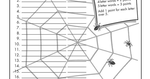 15 letter words worksheet spider spelling activity building words 20012 | e5dec08980cacfcbbe448614673bcb15