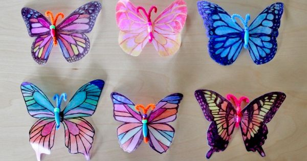 beautiful butterfly sun catchers made from milk jugs and sharpies! Easy enough