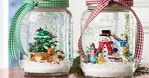mason jar christmas crafts | DIY Holiday Craft - Mason Jar Snowglobes