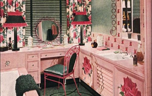 American style through the decades the forties pink for Interior design styles by decade