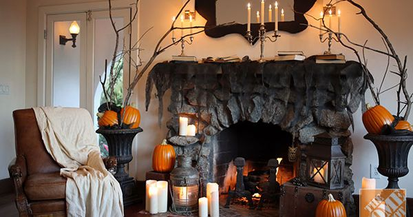 Halloween decorations for the mantel from love manor the home depot fireplace mantel spooky Halloween decorations home depot