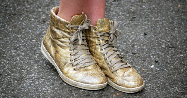 #gold sneakers