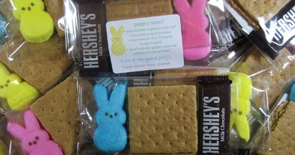 peeps smores. Tag says: *Place chocolate on graham cracker half *Place peep