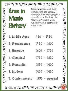 Music History Poster Eras Of Western Art Music Elementary Music Classroom Teaching Music Music Education