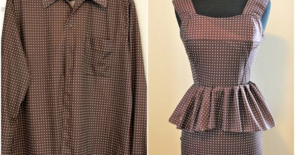 Men's shirt to peplum dress! Lovely project by the Trash to Couture