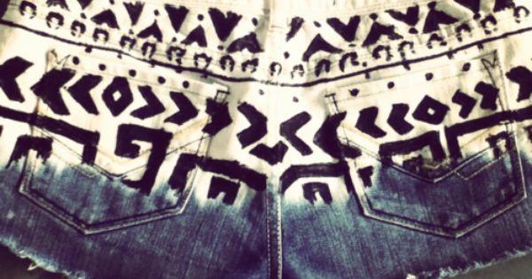 dip dye aztec shorts