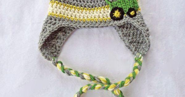 john deere baby, crochet tractor hat, baby boy hat ...
