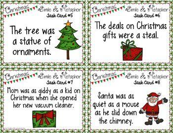Free Christmas Simile And Metaphor Task Cards Holiday Figurative
