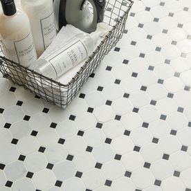 American Olean Genuine Stone Luxe White And Black 12 In X 12 In Octagon Dot Marble Mosaic Floor And Wal Mosaic Flooring Marble Mosaic Floor White Marble Mosaic