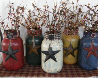 Americana Jars Patriotic Jars Painted By Hootowlmeshcreations Mason Jar Centerpieces Mason Jar Decorations Mason Jar Crafts Diy
