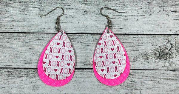 Heart-Shaped Print Drop Earrings Set TUPARKA 15-22 Pairs Leather Earrings Valentine Earrings for Women Girls Valentines Day Lightweight Teardrop Faux Leather