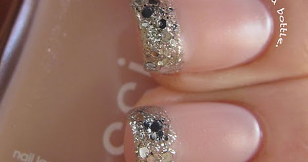 pink nail polish with silver glitter tips