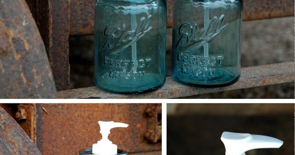 DIY Mason Jar Soap or Lotion Dispenser - love the blue jars