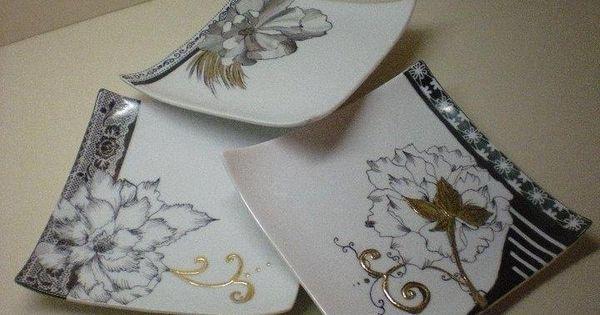 assiettes modernes peinture sur porcelaine pinterest assiette porcelaine et peinture sur. Black Bedroom Furniture Sets. Home Design Ideas