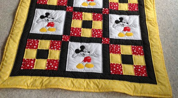 Baby Quilt Mickey Mouse Quilt Red Yellow Black Polka