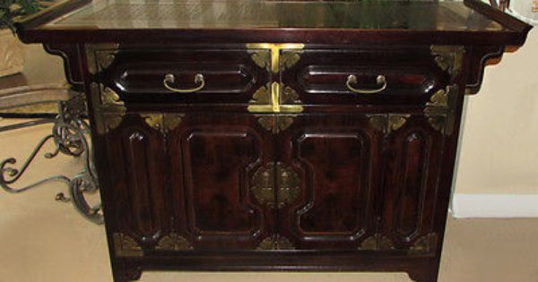 Vintage Bernhardt Asian Campaign Server Buffet Cabinet In Castors