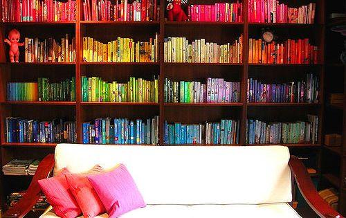 Colour sorted bookshelves