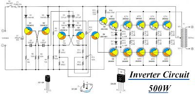 Inverter Circuit 12vdc To 220v 50hz 500w Circuit Diagram Power Inverters Electronic Schematics