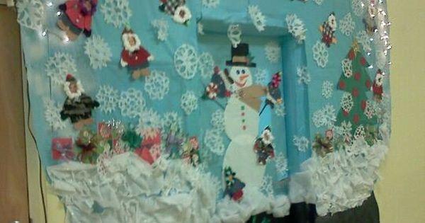 Christmas Door Decorating Ideas Snow Globe : Snow globe christmas classroom door decoration