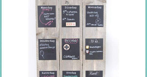 Weekplanner van steigerhout living pinterest maandplanner voor het huis en hout - Keukenmuur deco ...