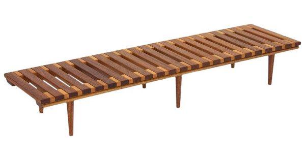 1960s Scandinavian John Keal For Brown Saltman Slat Bench Table Brown Saltman Bench Table Coffee Table Design