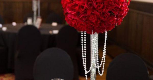 Wedding centerpiece xl velvet red rose kissing balls