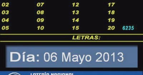 Quiniela Nacional Matutina dia Lunes 06 de Mayo de 2013 www ...